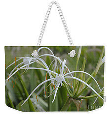 White Spider Orchid Weekender Tote Bag by Cindy Lee Longhini