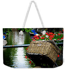 Wicker Bike Basket With Flowers Weekender Tote Bag