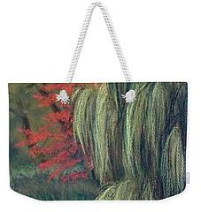 Weekender Tote Bag featuring the drawing Willow Tree - Hidden Lake Gardens -tipton Michigan by Yoshiko Mishina