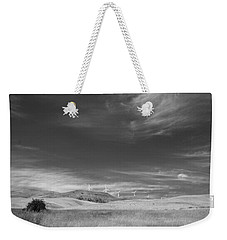 Weekender Tote Bag featuring the photograph Windmills In The Distant Hills by Kathleen Grace