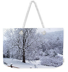 Winter Tree And Fence In The Valley Weekender Tote Bag