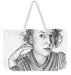 Woman In Sweater Weekender Tote Bag