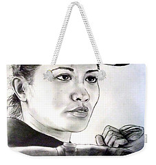 Woman's Boxing Champion Filipino American Ana Julaton Weekender Tote Bag by Jim Fitzpatrick