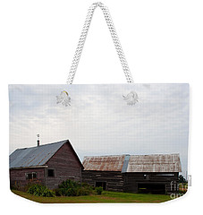 Weekender Tote Bag featuring the photograph Wood And Log Sheds by Barbara McMahon