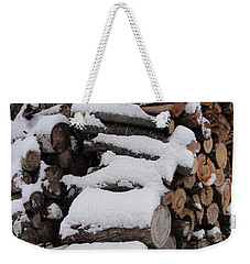 Weekender Tote Bag featuring the photograph Wood Pile by Tiffany Erdman