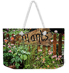 Wooden Plant Sign In Flowers Weekender Tote Bag