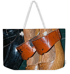 Weekender Tote Bag featuring the digital art Wooden Shoe Sandals by Carol Ailles