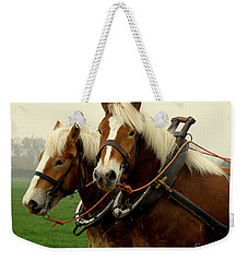 Weekender Tote Bag featuring the photograph Work Horses by Lainie Wrightson