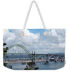 Yaquina Bay Bridge Weekender Tote Bag by Nick Kloepping