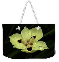 Yellow Iris With Rain Drops Weekender Tote Bag