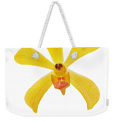 Weekender Tote Bag featuring the photograph Yellow Orchid by Atiketta Sangasaeng