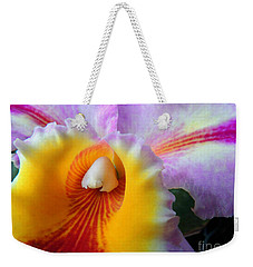 Weekender Tote Bag featuring the photograph Yellow Purple Orchid by Kristine Merc
