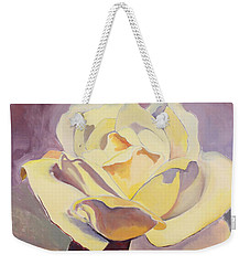 Weekender Tote Bag featuring the painting Yellow Rose-1-posthumously Presented Paintings Of Sachi Spohn  by Cliff Spohn