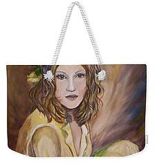 Weekender Tote Bag featuring the painting Yellow Rose by Julie Brugh Riffey