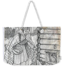 Young Girl Feeding The Chickens In The 1800's Weekender Tote Bag
