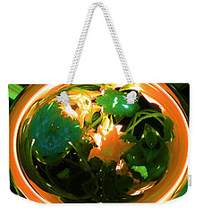 Weekender Tote Bag featuring the photograph Zucchini Flowers Under Glass by George Pedro