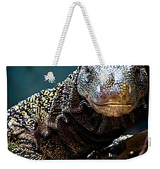 A Crocodile Monitor Portrait Weekender Tote Bag by Lana Trussell