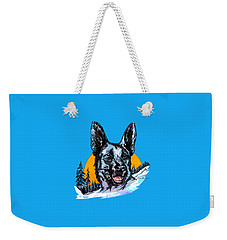Weekender Tote Bag featuring the drawing  Alsatian by Andrzej Szczerski