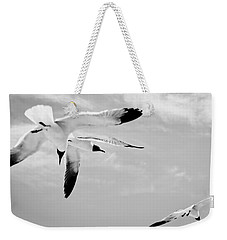 Chaos - Seagulls Black And White Weekender Tote Bag