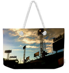 Weekender Tote Bag featuring the photograph  Fenway Lights Fenway Park David Pucciarelli  by Iconic Images Art Gallery David Pucciarelli