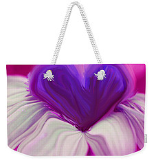 Weekender Tote Bag featuring the photograph  Flower Heart by Linda Sannuti