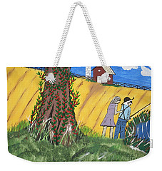 Weekender Tote Bag featuring the painting  I Got A Big One. by Jeffrey Koss