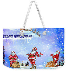Weekender Tote Bag featuring the painting  Merry Christmas To My Friends In The Faa by Andrzej Szczerski