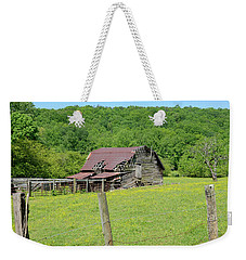 Weekender Tote Bag featuring the photograph  Old Goshen Barn by Susan Leggett