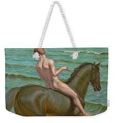 Original Oil Painting Gay Man Art Male Nude  Boy And Horse #16-2-5-15 Weekender Tote Bag