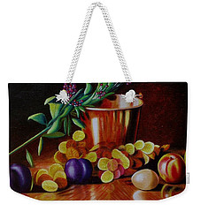 Weekender Tote Bag featuring the painting  Pail Of Plenty by Gene Gregory