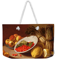 Still Life Of Raspberries Lemons And Asparagus  Weekender Tote Bag