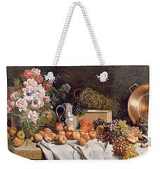 Still Life With Flowers And Fruit On A Table Weekender Tote Bag by Alfred Petit