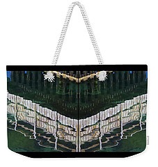 Weekender Tote Bag featuring the photograph  Water Reflection Twofold by Heiko Koehrer-Wagner