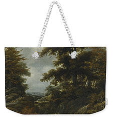 Wooded Landscape With Waterfall Weekender Tote Bag