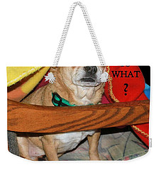 Weekender Tote Bag featuring the photograph  You Woke Me Up Card by Debbie Stahre