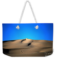 Yuma Dunes Number One Bright Blue And Tan Weekender Tote Bag by Heather Kirk
