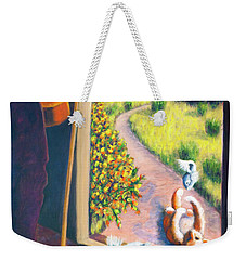 Weekender Tote Bag featuring the painting 01349 The Cat And The Fiddle by AnneKarin Glass