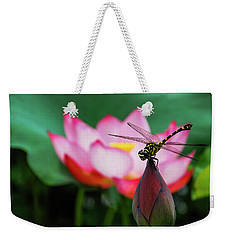 A Dragonfly On Lotus Flower Weekender Tote Bag