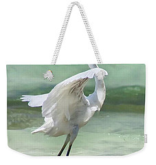 A Snowy Egret (egretta Thula) At Mahoe Weekender Tote Bag by John Edwards