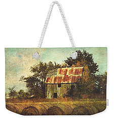 Abandoned Countryside Barn And Hay Rolls Weekender Tote Bag
