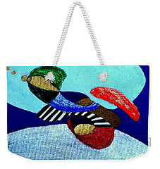 Weekender Tote Bag featuring the painting Abstract Silver by Rod Ismay