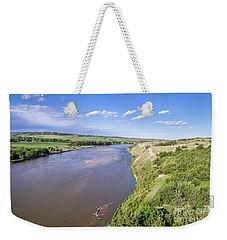 aerial view of Niobrara River in Nebraska Sand Hills Weekender Tote Bag