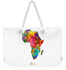 Africa Watercolor Map Weekender Tote Bag by Michael Tompsett