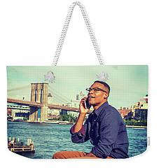 African American Man Traveling In New York Weekender Tote Bag