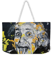 Weekender Tote Bag featuring the painting Albert Einstein by Richard Day