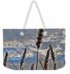 Weekender Tote Bag featuring the photograph All About Wheat by Sara Raber