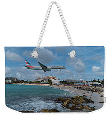 American Airlines Landing At St. Maarten Weekender Tote Bag