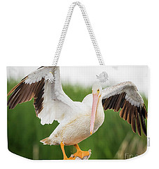 American White Pelican  Weekender Tote Bag by Ricky L Jones