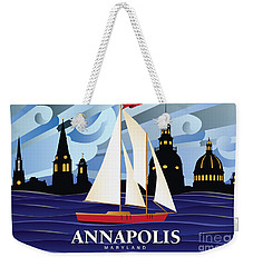 Annapolis Skyline Red Sail Boat Weekender Tote Bag