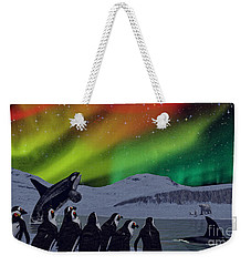 Weekender Tote Bag featuring the digital art Aurora Borealis by Methune Hively